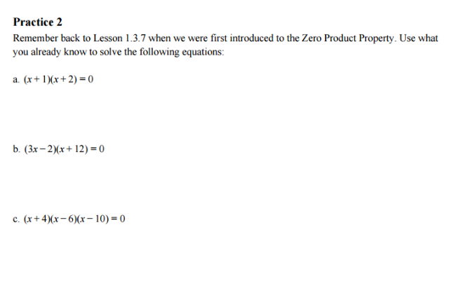 Lesson 414 The Zero Product Property Algebra 1 With Mr Eoff – Zero Product Property Worksheet